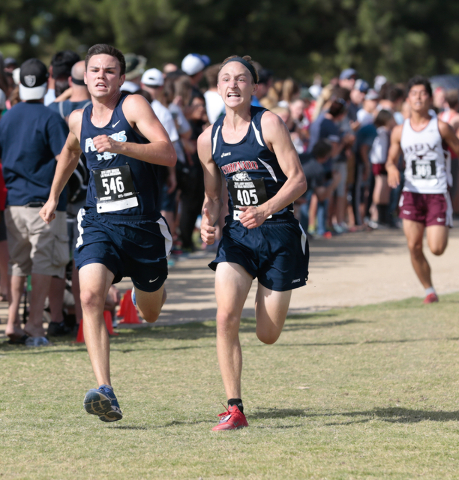 Foothill's Brian Coon (546), left, and Coronado's Tom Dougherty (405) show deter ...