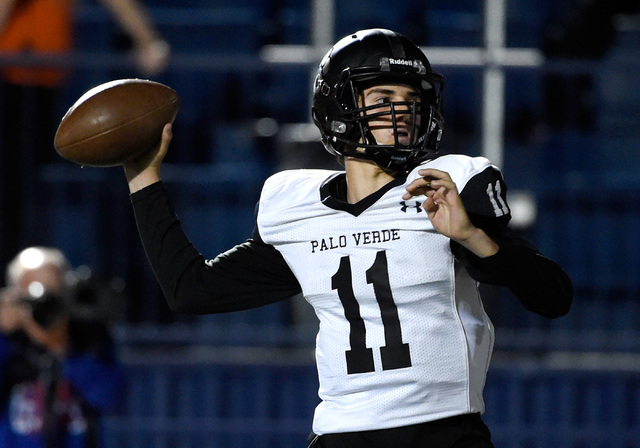 Palo Verde quarterback Nick Zuppas looks to pass against Bishop Gorman during the first half ...