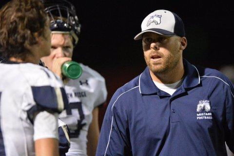 Shadow Ridge head coach Travis Foster walks the sidelines of the Arbor View High School Shad ...