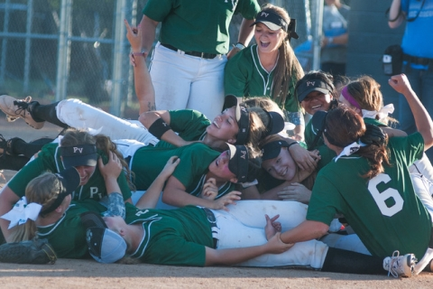 Palo Verde rushes the field after defeating Reed 12-8 to capture the Division I state title ...
