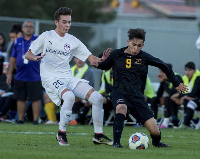 Durango's Jaime Munguia (9) kicks the ball against Coronado at the Bettye Wilson Socce ...