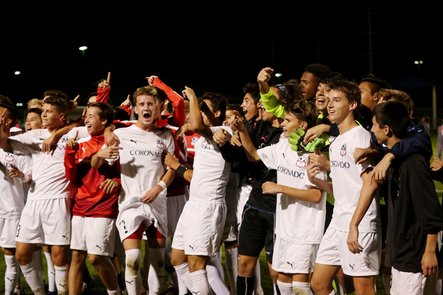 Coronado Cougars soccer team celebrate at the Bettye Wilson Soccer complex where the Cougars ...