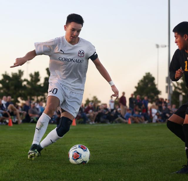Coronado's Preston Judd (10) kicks the ball against Durango at the Bettye Wilson Socce ...