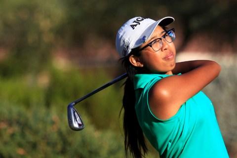 Mercedes Khumnark tees off during the Sunrise Region girls golf tournament at Anthem Country ...