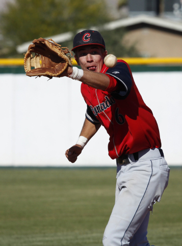 Tanner Bellamy of Coronado fields a grounder during the first round of the Sunrise Region to ...