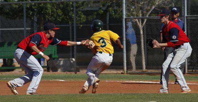 Coronado shortstop Tanner Bellamy, left, tags out Rancho's Bryce Harrell as pitcher Ja ...