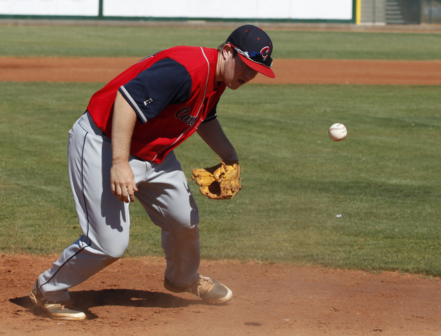 Caden Spilsbury of Coronado High School bobbles the ball during the first round of the Sunri ...