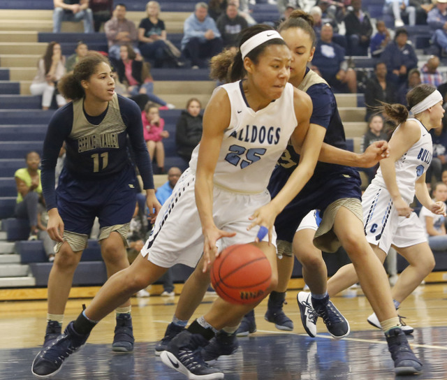 Centennial's Samantha Thomas (25) drives down the court during the first half of a Cla ...