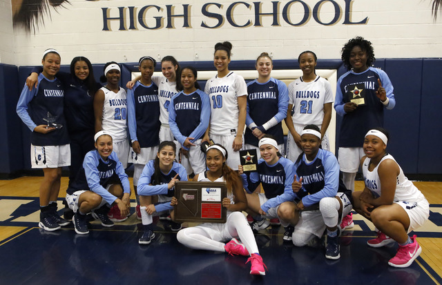 Centennial's poses for a portrait after winning during the Class 4A Sunset Region cham ...