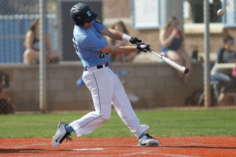 Centennial's Jake Portaro (24) connects with the ball in their baseball game against L ...