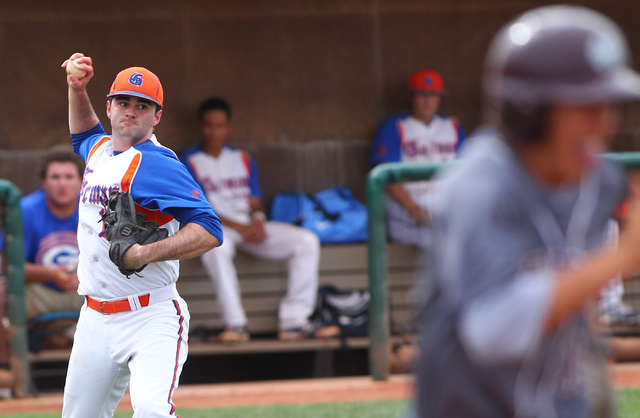Bishop Gorman's pitcher Bronson Bowe (13) looks to throw to first to out Cimarron-Memo ...