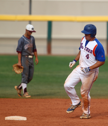 Bishop Gorman's Brandon Wulff (4) rounds second base after hitting his 10th home run o ...
