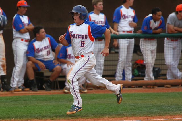 Bishop Gorman's Beau Capanna (6) races home to score a run in the third inning against ...