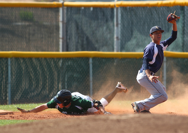 Shadow Ridge's Robbie Galvan, right, reacts after tagging out Palo Verde's Bradl ...