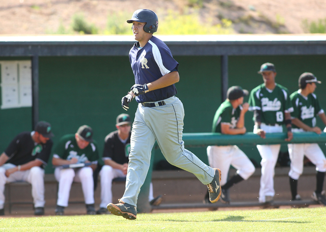 Shadow Ridge's Francisco Robles trots home after his home run against Palo Verde on Th ...