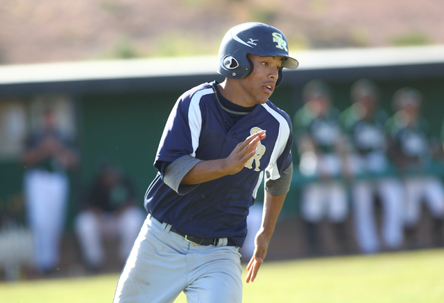 Shadow Ridge's Eric Jordan runs for first base while playing against Palo Verde on Thu ...