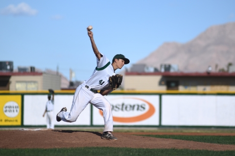 Rancho's Layton Walls (41) pitches against Basic during their baseball game played at ...