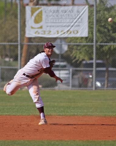 Cimarron Memorial's Niko Decolati throws the ball during a baseball game against Arbor ...