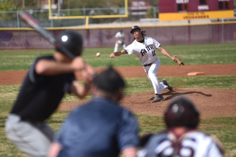 Faith Lutheran's Kyle Poser (10) pitches against Canyon View (Utah) during their baseb ...