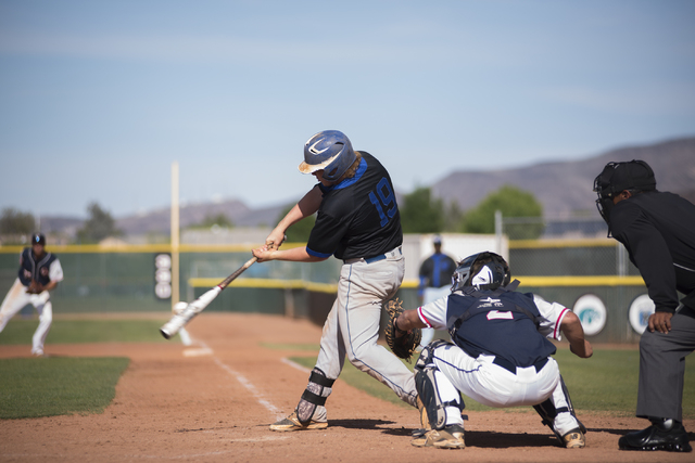 Basic's Jack Wold (19) hits the ball against Coronado during their baseball game at Co ...