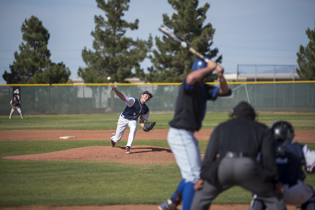 Coronado's Zach Dunham (3) pitches against Basic during their baseball game at Coronad ...