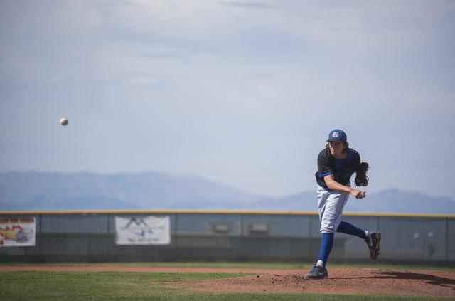 Basic's Josh McLean (57) pitches against Coronado during their baseball game at Corona ...