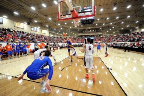 Bishop Gorman center Chase Jeter (4) attempts a layup as time expires against Findlay Prep g ...