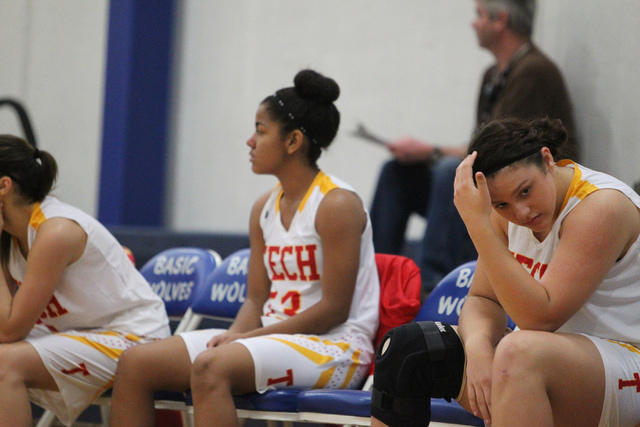 Tech's Sidney Stanton, right, reacts to a play against Desert Pines during Tuesday&#82 ...