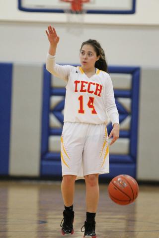 Tech's Clarissa Szluha (14) signals her teammates during their game against Desert Pin ...