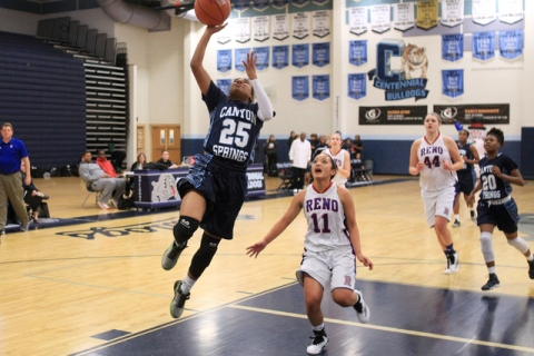 Canyon Springs guard D'Licya Feaster gets past Reno guard Daranda Hinkey for a basket ...