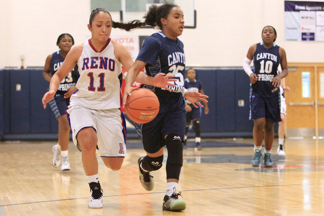Reno guard Daranda Hinkey reaches in to steal the ball from Canyon Springs guard D'Lic ...