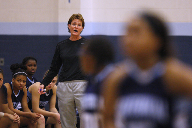 Centennial coach Karen Weitz talks to her players during the championship game of the Las Ve ...