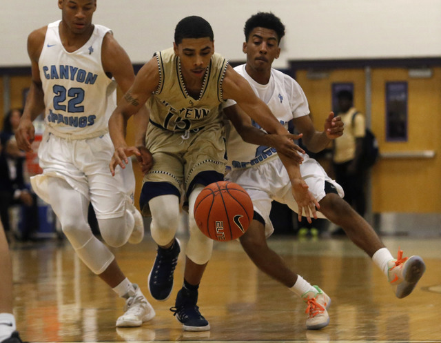 Canyon Spring's Jovon Coleman (22), from left, Cheyenne's D'Andre Houston ...
