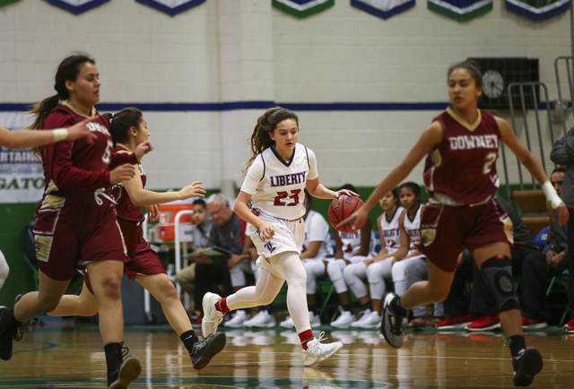 Liberty's Alexis Tomassi (23) drives the ball against Downey during the Gator Winter C ...