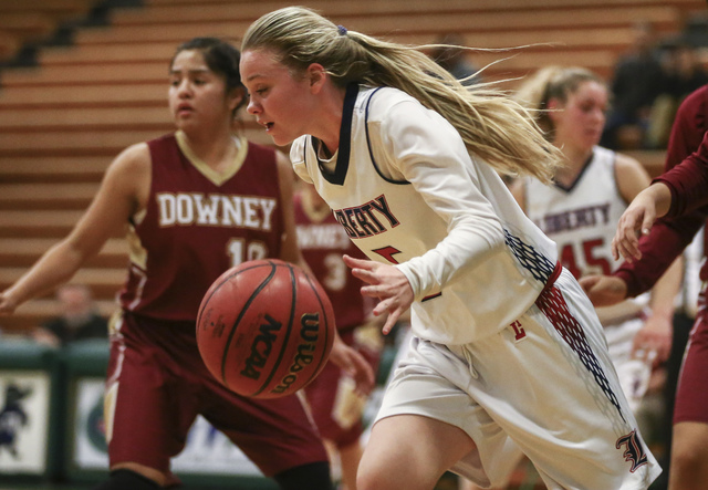 Liberty's London Pavlica (5) drives against Downey during the Gator Winter Classic cha ...