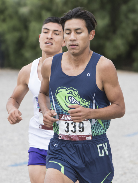 Omar Rubio, right, and Omar Aguilar Espinoza lead the Regional 4A Sunrise Boys cross country ...