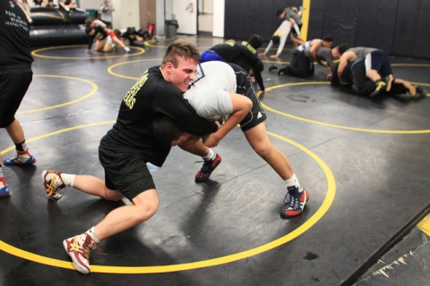 Clark wrestler Jacob Chaparian works out with Edwin Centeno in practice on Tuesday. Chaparia ...