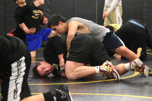 Clark wrestler Jacob Chaparian works out with Damian Garavito in practice on Tuesday. Chapar ...