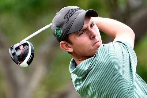 Palo Verde's Cameron Meeks tees off on the first tee during the first round of Divisio ...