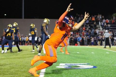 Bishop Gorman quarterback Tate Martell (18) reacts after Bishop Gorman running back Biaggio ...