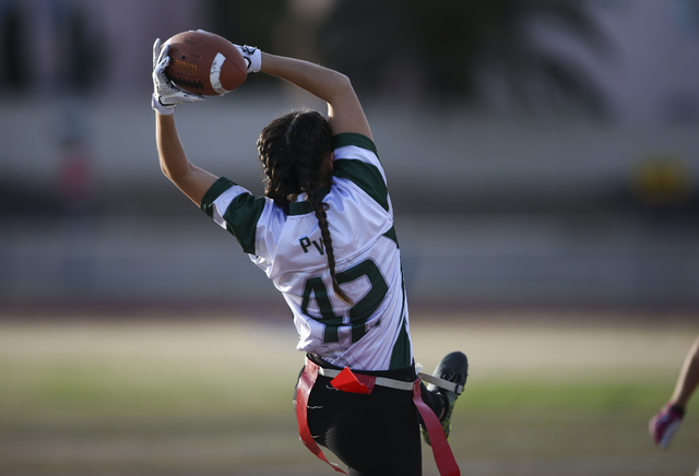 Palo Verde's Gianni Terrana (42) catches a pass during the Sunset Region flag football ...