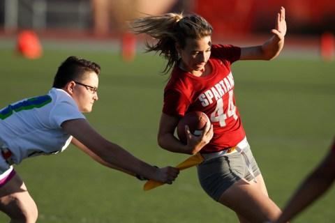 Cimarron-Memorial's Jaymee Luke is tackled by Green Valley's Allisa Hildreth dur ...