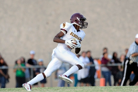 Eldorado kick returner Joshua Brown returns the opening kickoff 96 yards for a touchdown aga ...