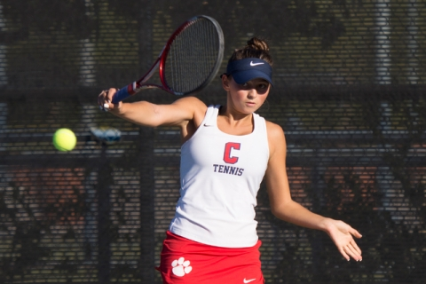Coronado's Nikoleta Nikoloff plays a tennis game against Coronado's Megan King d ...