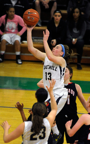 Foothill's Kelsey McFarland (13) shoots over Coronado during Thursday's Sunrise ...