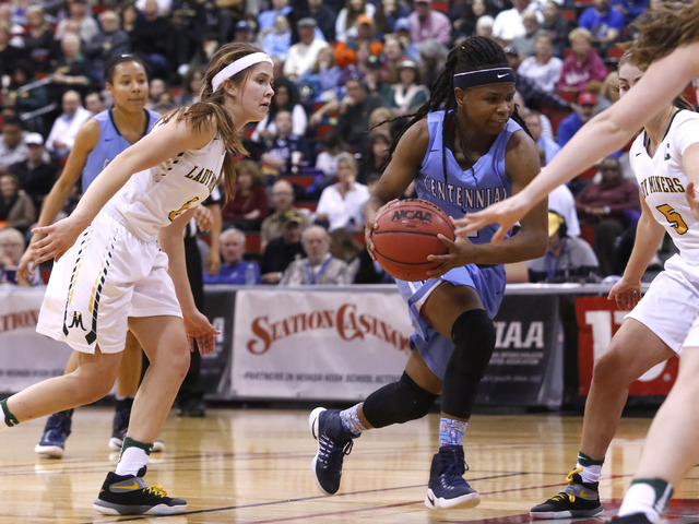 Centennial's Pam Wilmore (1) dribbles during the second half of a Class 4A girls state ...