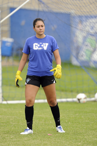 Green Valley girls soccer goalkeeper Kiyana Lopez is shown during practice. Lopez was the No ...