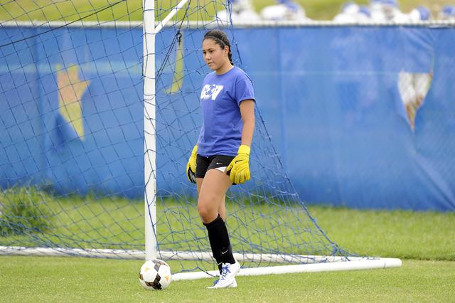 Green Valley girls soccer goalkeeper Kiyana Lopez is shown during practice. (Josh Holmberg/L ...