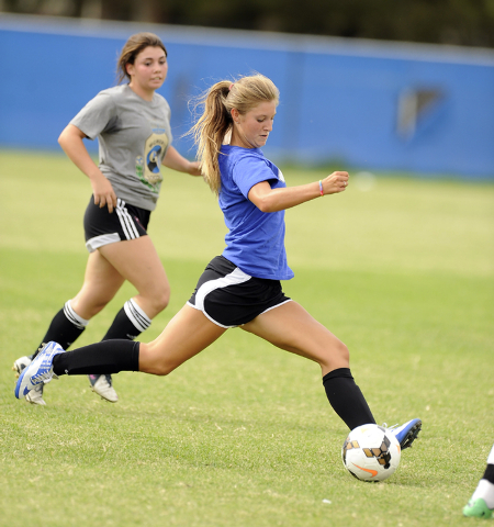 Green Valley girls soccer player Madison Holborow fires a shot during practice (Josh Holmber ...