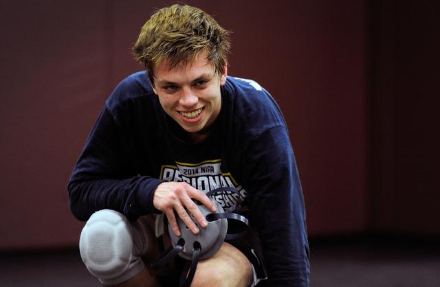 Faith Lutheran wrestler Owen Lawrie smiles during a short break from training at Faith Luthe ...